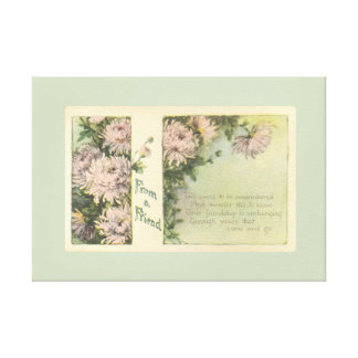 Pretty Antique Pink Flowers From A Friend Floral Canvas Print