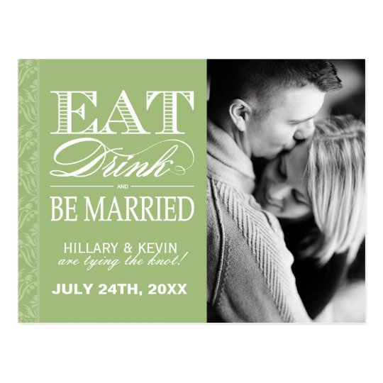 Pretty Apple Green Damask Save the Date Postcard