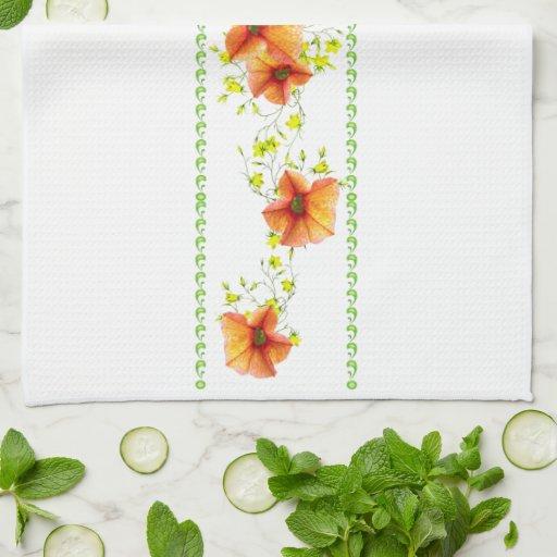 Pretty Apricot Flowers Kitchen Towels