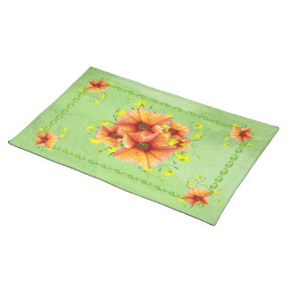 Pretty Apricot Posies Placemat
