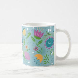 Pretty April Showers Pastel Retro Floral Coffee Mug