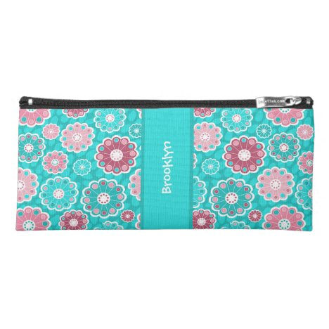 Pretty aqua and pink abstract floral monogram pencil case