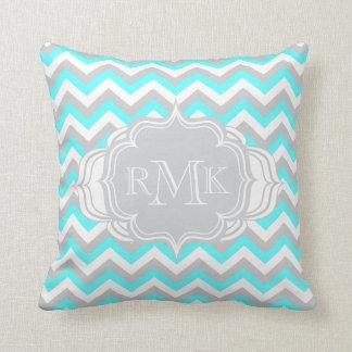 Pretty Aqua and White Girl's Room Chevron Monogram Throw Pillow