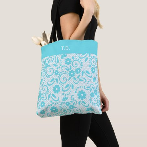 Pretty aqua and white whimsical flowers tote bag