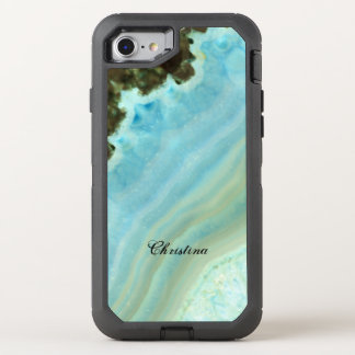 Pretty Aqua Blue Agate Geode Crystal Pattern OtterBox Defender iPhone 7 Case