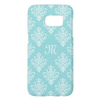 Pretty Aqua Blue and White Damask With Monogram Samsung Galaxy S7 Case