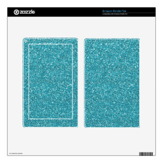 Pretty Aqua Blue Sparkly Glitter Decal For Kindle Fire