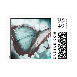 Pretty Aqua Butterfly Postage