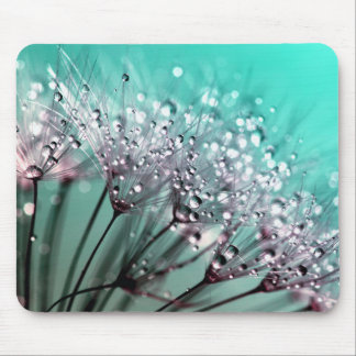 Pretty Aqua Dandelion Seed Water Droplet Mouse Pad