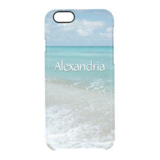 Pretty Aqua Ocean Beach, Monogram Name Clear iPhone 6/6S Case