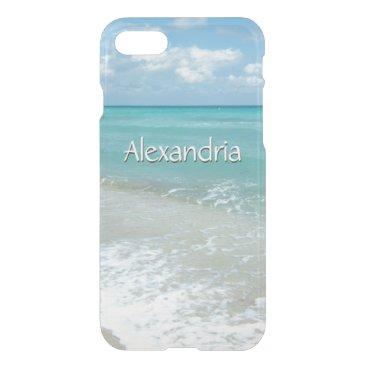 Beach Themed Pretty Aqua Ocean Beach, Monogram Name iPhone 7 Case