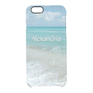 Pretty Aqua Ocean Beach, Monogram Name Uncommon Clearly™ Deflector iPhone 6 Case
