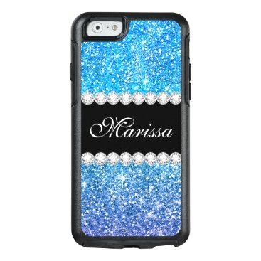 Bride Themed Pretty Aqua Purple Glitter Ombre Black OtterBox iPhone 6/6s Case
