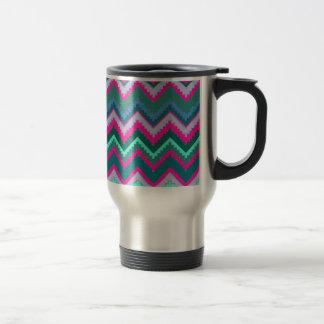 Pretty Aqua Teal Blue Pink Tribal Chevron Zig Zags 15 Oz Stainless Steel Travel Mug