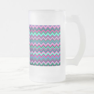 Pretty Aqua Teal Blue Pink Tribal Chevron Zig Zags Frosted Glass Beer Mug
