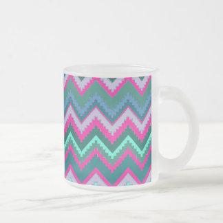 Pretty Aqua Teal Blue Pink Tribal Chevron Zig Zags Frosted Glass Coffee Mug