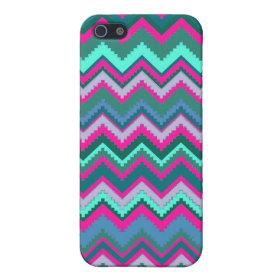 Pretty Aqua Teal Blue Pink Tribal Chevron Zig Zags iPhone 5 Cases