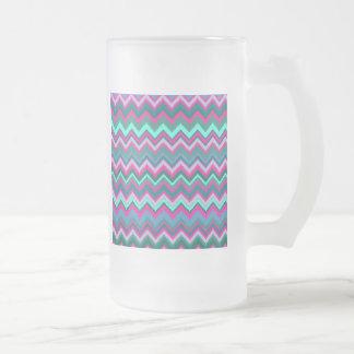Pretty Aqua Teal Blue Pink Tribal Chevron Zig Zags Mug
