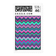 Pretty Aqua Teal Blue Pink Tribal Chevron Zig Zags Postage
