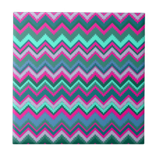 Pretty Aqua Teal Blue Pink Tribal Chevron Zig Zags Tile