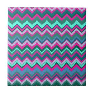 Pretty Aqua Teal Blue Pink Tribal Chevron Zig Zags Tiles