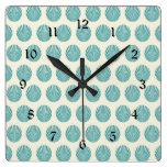 Pretty Aqua Teal Blue Shell Beach Pattern Gifts Clocks