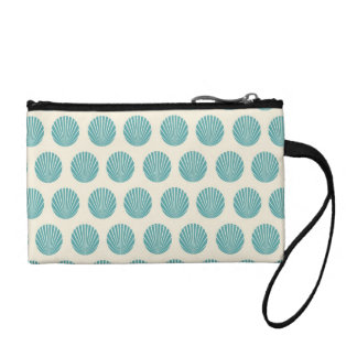 Pretty Aqua Teal Blue Shell Beach Pattern Gifts Coin Wallet