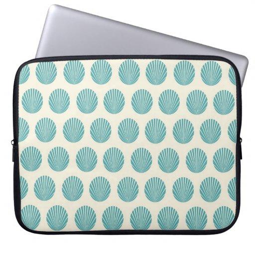 Pretty Aqua Teal Blue Shell Beach Pattern Gifts Computer Sleeve