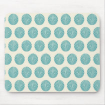 Pretty Aqua Teal Blue Shell Beach Pattern Gifts Mouse Pad