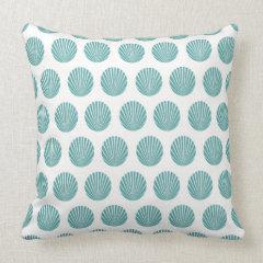 Pretty Aqua Teal Blue SeaShell Beach Pattern Gifts Pillows