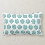 Pretty Aqua Teal Blue Shell Beach Pattern Gifts Throw Pillow