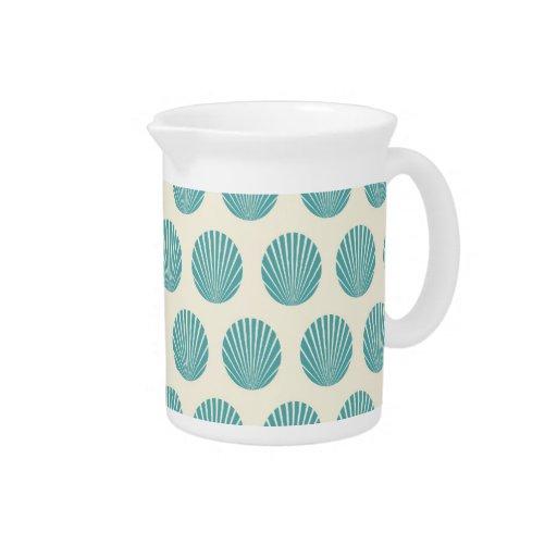 Pretty Aqua Teal Blue Shell Beach Pattern Gifts Pitchers