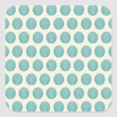 Pretty Aqua Teal Blue Shell Beach Pattern Gifts Square Stickers
