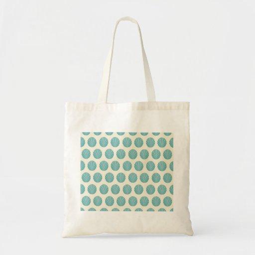 Pretty Aqua Teal Blue Shell Beach Pattern Gifts Tote Bag