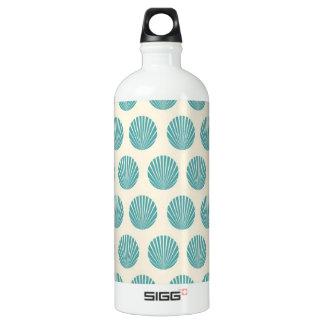 Pretty Aqua Teal Blue Shell Beach Pattern Water Bottle