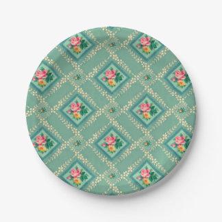 Pretty aqua vintage wallpaper paper plates
