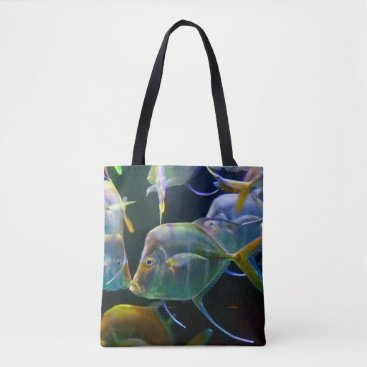 Beach Themed Pretty Aquatic Up Close School Of Fish Tote Bag