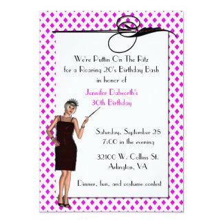 """Pretty Art Deco Birthday Party Invitation 5"""" X 7"""" Invitation Card"""