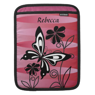 Pretty Art Deco style butterfly and flowers iPad Sleeves
