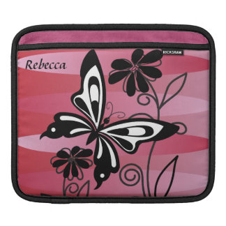 Pretty Art Deco style butterfly and flowers Sleeves For iPads