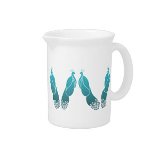 Pretty Art Deco Style Peacocks in Teal Pitcher