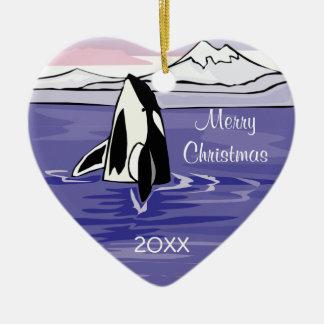 pretty artic orca scene Double-Sided heart ceramic christmas ornament