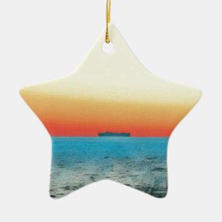 Pretty Artistic Seascape Naval ship Silhouette Ceramic Ornament