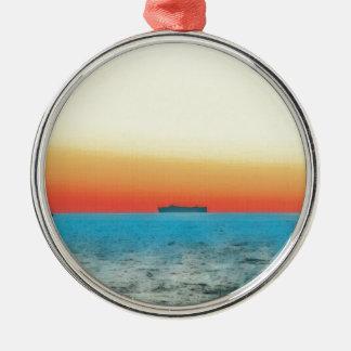 Pretty Artistic Seascape Naval ship Silhouette Metal Ornament