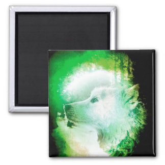 Pretty Artistic Wolf Pup Face Green and White 2 Inch Square Magnet
