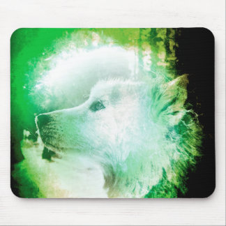 Pretty Artistic Wolf Pup Face Green and White Mouse Pad