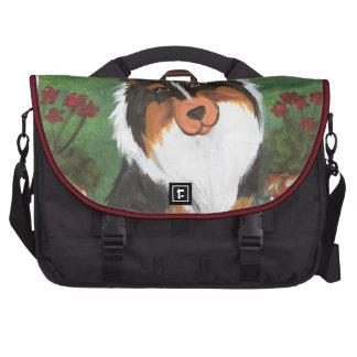 Pretty as a picture Tri color Sheltie Laptop Commuter Bag