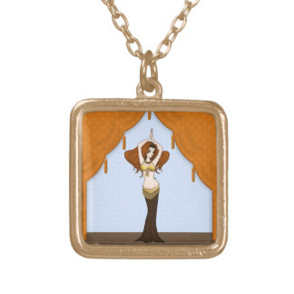 Pretty Auburn Haired Belly Dancer Gold Plated Necklace