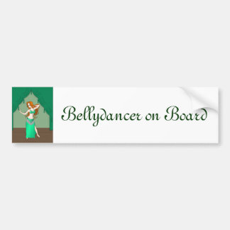 Pretty Auburn Haired Belly Dancer in Green Bumper Sticker