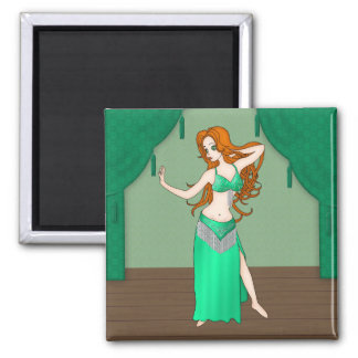 Pretty Auburn Haired Belly Dancer in Green Refrigerator Magnets